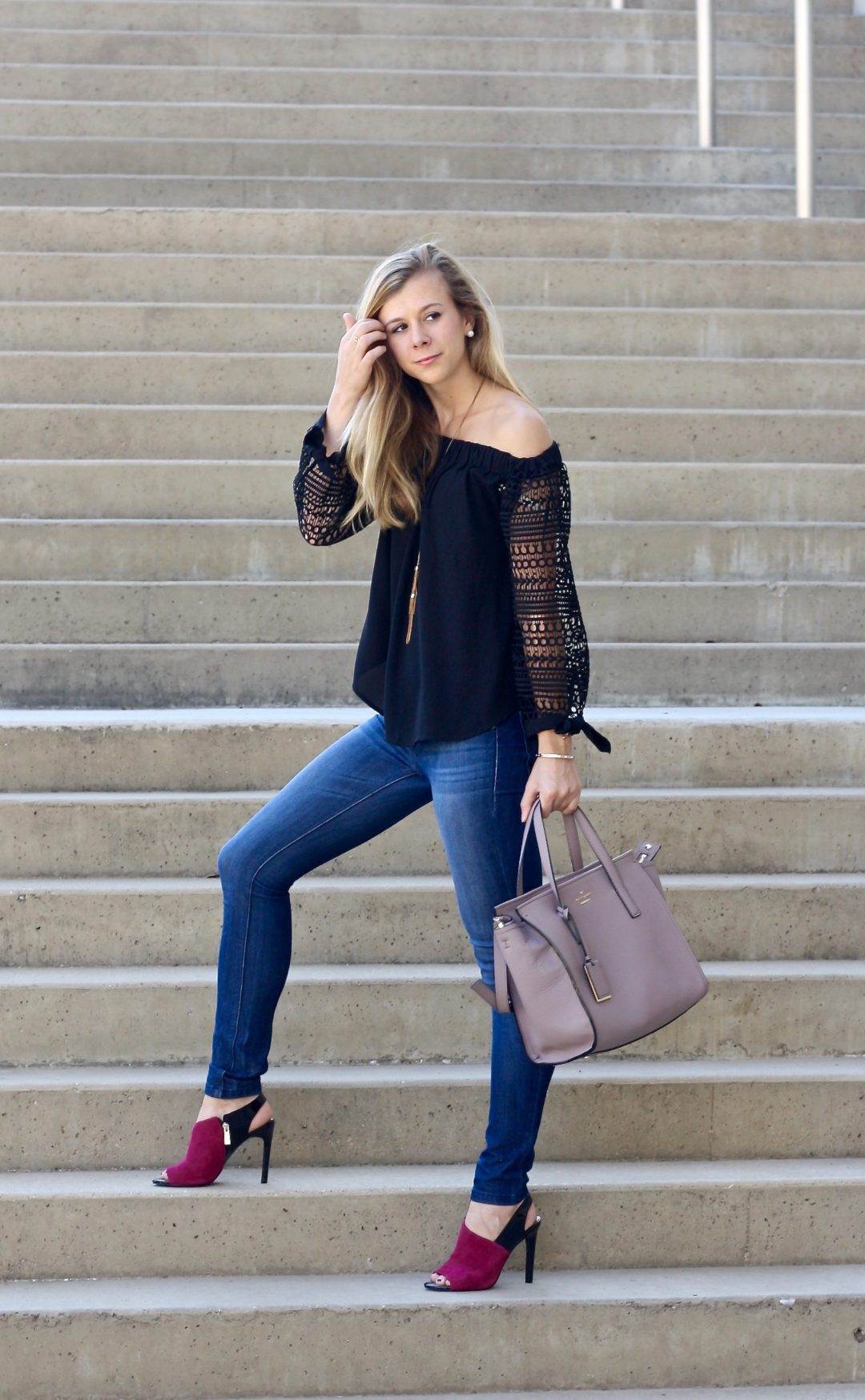 OTS, off the shoulder top in Fall, lace sleeves