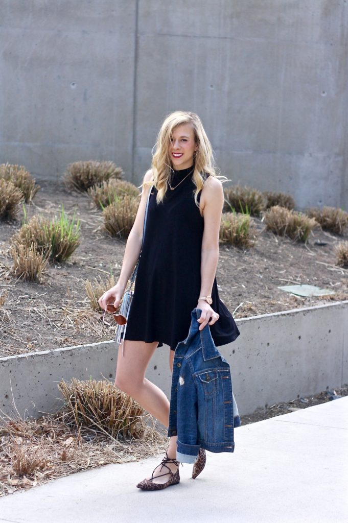knit dress and lace-up flats