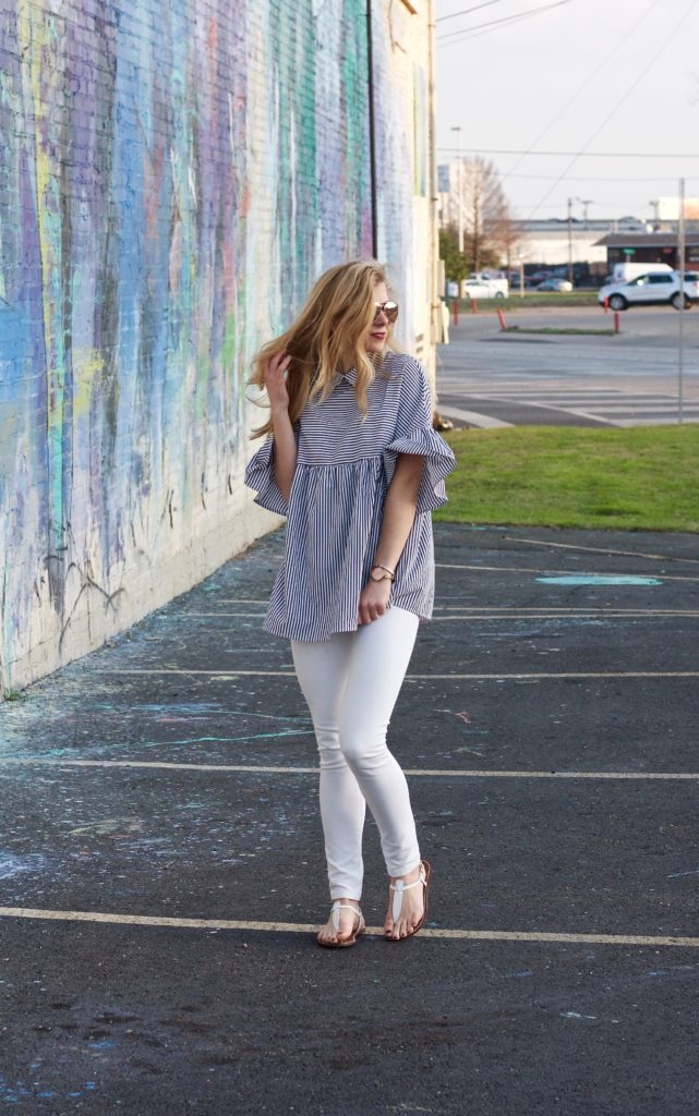 Ruffle Sleeve Top and White Pants | Running in Heels