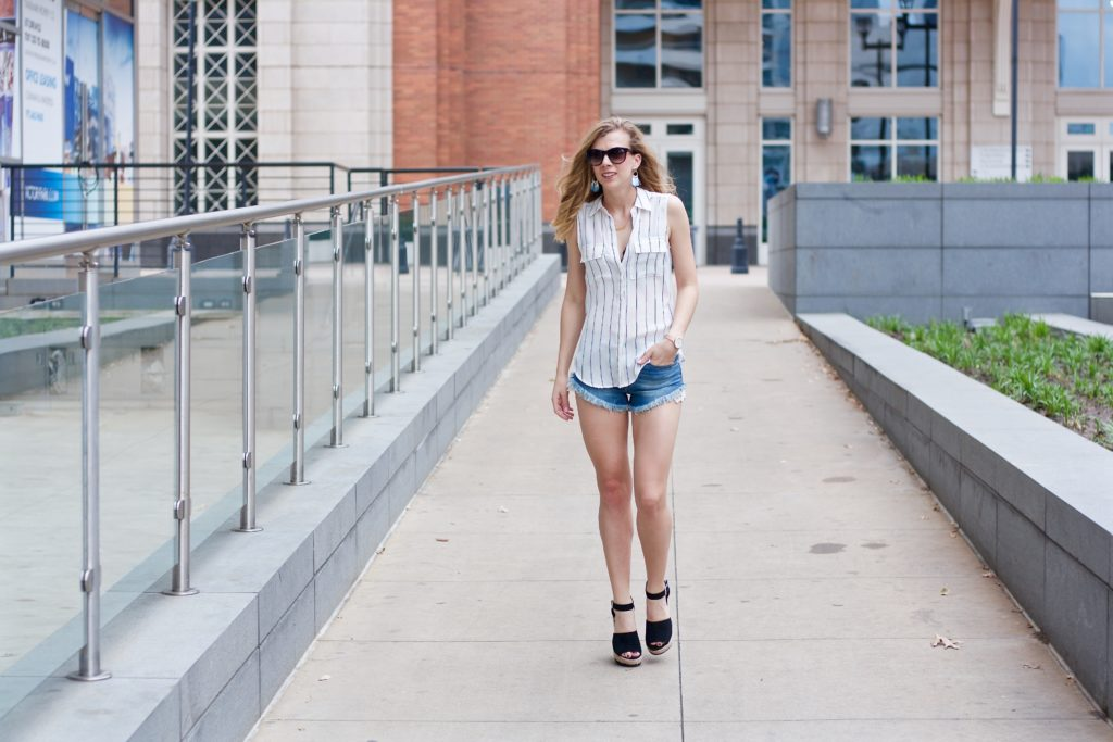 Striped Top and the 'It' Wedges